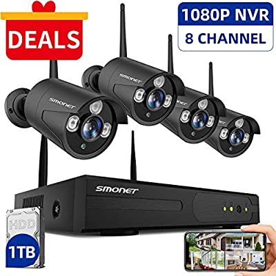 SMONET 2020 Security Camera System Wireless,8-Channel 1080P Home Security System(1TB Hard Drive),4pcs 960P(1.3 Megapixel) Indoor/Outdoor Wireless IP Cameras,P2P,Night Vision,Easy Remote View,Free APP