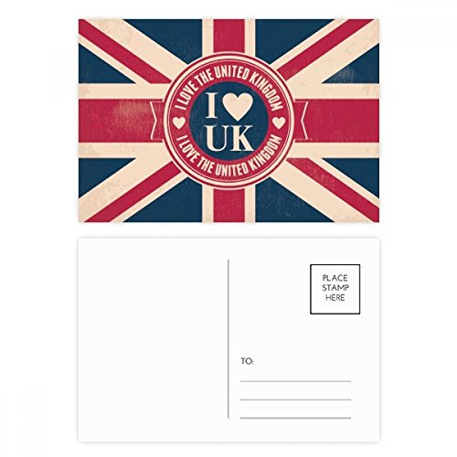 DIYthinker I Love The United Kingdom Union Jack UK Vlag Postkaart Set Verjaardag Thanks Card Mailing Side 20 stks 5.7 inch x 3.8 inch Multi kleuren