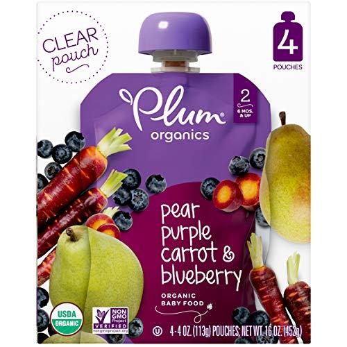 Plum Organics 4pk Pear Purple Carrot & Blueberry Baby Food Pouches - 16oz
