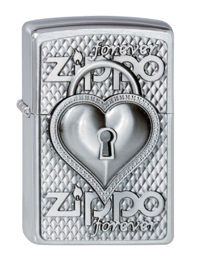 Zippo Feuerzeug 2002732 Heart Forever Benzinfeuerzeug, Messing, Brushed Chrome, 1 x 3,5 x 5,5 cm