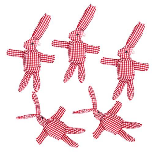 Juguetes de peluche de conejos, conejos pequeños para colgar conejos de peluche para fiestas navideñas para decoración para rellenar para relleno de canastas(Red and white grid)