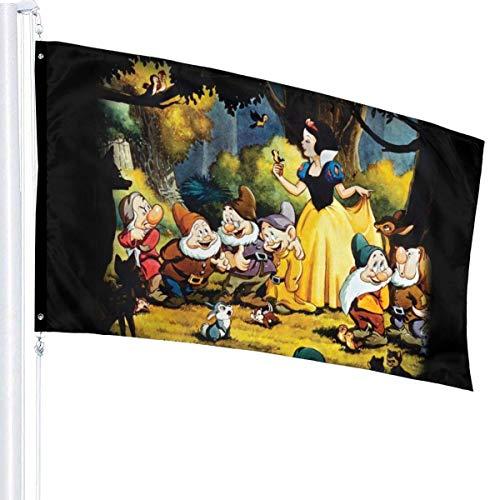 Lsjuee - Bandera de los Siete enanitos de Blancanieves, 3 x 5 pies, Decorativa para Exteriores, Anti UV, para Interiores, Banderas de Temporada y Festivos, para Patio, poliéster, 3 x 5 pies