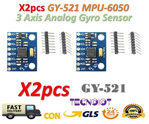 TECNOIOT 2pcs GY-521 MPU-6050 mpu6050 Module 3 Axis Analog gyro sensors Accelerometer Module | 2pcs GY-521 6DOF MPU-6050 Módulo Acelerómetro y Giro de 3 Ejes para Arduino