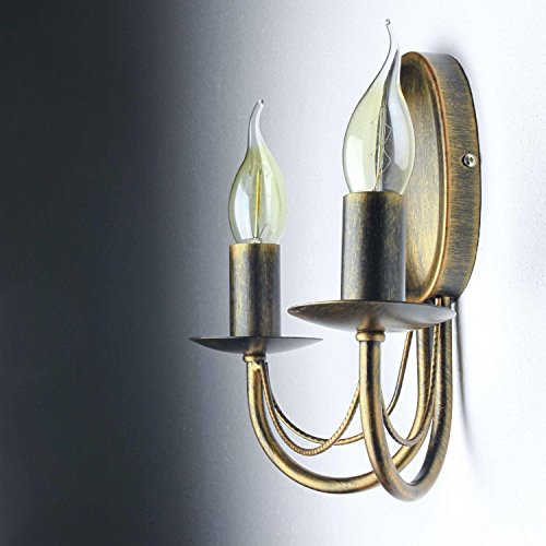 Wandlamp antiek antiek bruin 2-voudig E14 tot 60W landelijk licht wandlamp rustieke woonkamer slaapkamer lampen hal wandlamp