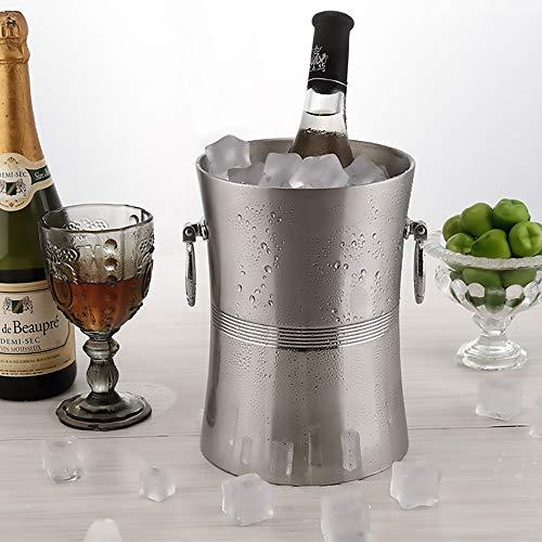DODOBD Portaghiaccio Acciaio,Secchiello Ghiaccio per Champagne in Acciaio Inox con Anello,Cestello Ghiaccio Secchiello per Bottiglie di Vino/Spumante e Ghiaccio Contenitore