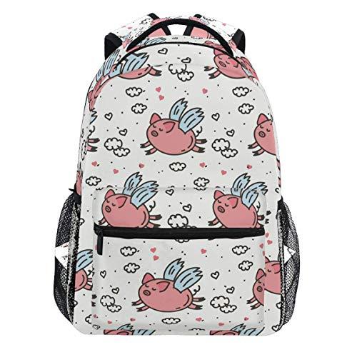 Pink Fly Pig Cloud Polka Dot Herz Niedlichen Tier Rucksack Bookbags Daypack Travel School College-Tasche für Damen Herren Teens