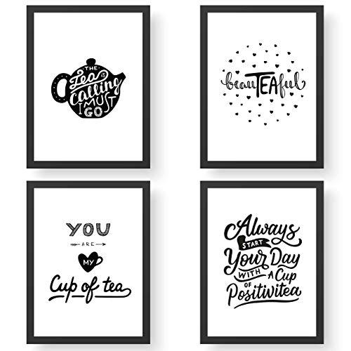 Papierdrachen 4 Premium Poster DIN A4 | Bilder für Küche und Wohnzimmer - schwarz-weiß - Teatime - hochwertige ungerahmte Kunstdrucke mit Spruch | Dekoration | Wandbild