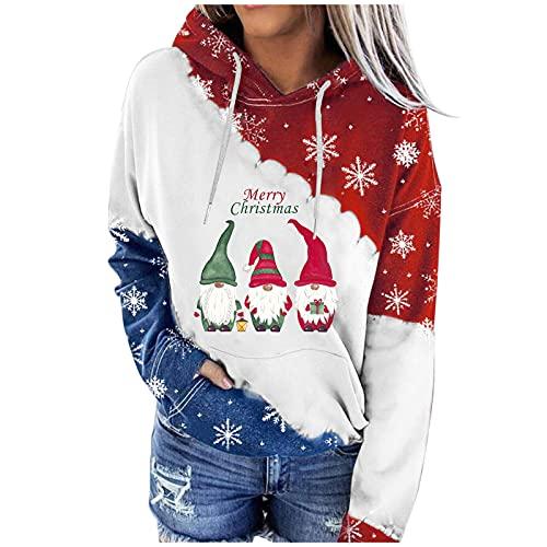 Berimaterry sudaderas mujer con capucha casual moda top para mujer camisetas manga larga originales baratos ropa mujer con estampado de Navidad moda chándal otoño primavera Jerséis hoodies
