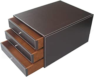 File Cabinets Armoire multifonction en cuir à 3 tiroirs avec plateau de rangement pour bureau ou maison
