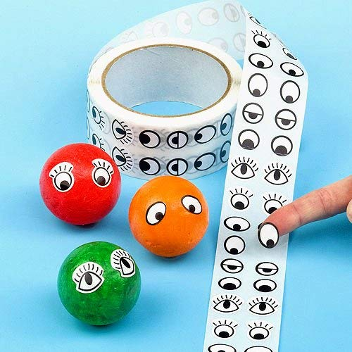 EV1202 Pack of 10 Baker Ross Eye Stickers Value Pack 6 Assorted Designs on a Roll for Childrens Craft Projects