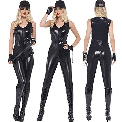 Polizistin Sexy Uniform Schwarz ReißVerschluss Overall Polizei KostüM Halloween Karneval Party KostüM Spiel Uniform GrößE S-XL (S)
