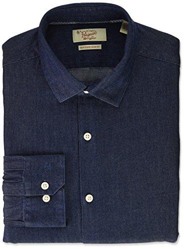 Original Penguin Men's Slim Fit Spread Collar Fashion Dress Shirt, Indigo, 15.5 34/35