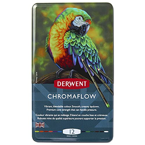 Derwent Chromaflow Colored Pencils   Art Supplies for Drawing, Sketching, Adult Coloring   Premier, Strong Soft Core Multicolor Color Pencils, Blending   Professional Quality   12 Pack