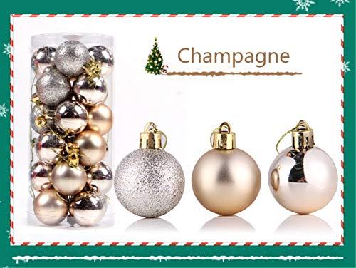 Zinsale 4cm / 6cm / 8cm 24pz Bagattelle per Alberi di Natale Sfere di plastica infrangibili Palle di Natale Decorazioni per Alberi Pendenti per Ornamenti Decorazioni per Feste (Champagne, 4cm)