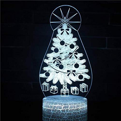Luz de noche de 3Dárbol de Navidad Lámpara de ilusión 3D Multicolor con control remoto para sala de estar Bar Habitación Juguetes de regalo Regalo perfectos para niño