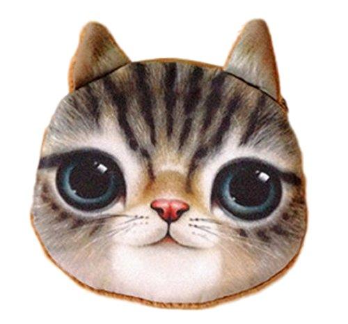 Flauschiger Kindergeldbeutel/Kinderportemonnaie/Münzbeutel/Schlüsseltasche mit süßem Katzenmotiv inkl. Katzenohren (Reissverschluss) (Braun)