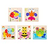 MoK 5 Piezas Rompecabezas Animal para Bebé 1 Años, Puzzle Pequeño para Bebé 1 Años, Rompecabezas de Madera para Bebé 1 Años, para Niños y Niñas, Niños, Regalo, Rompecabezas de Animales