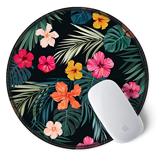 ITNRSIIET [20% Larger] Mouse Pad with Stitched Edge Premium-Textured Mouse Mat Waterproof Non-Slip Rubber Base Round Mousepad for Laptop PC Office 8.7×8.7×0.12 inches, Beautiful Floral Photo #7