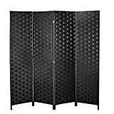 Room Divider and Folding Privacy Screen, 4 Panel Wood Mesh Woven Design Room Screen Divider, Folding Portable Partition Screen for Decorating Bedroom, Living Room, Office Separator