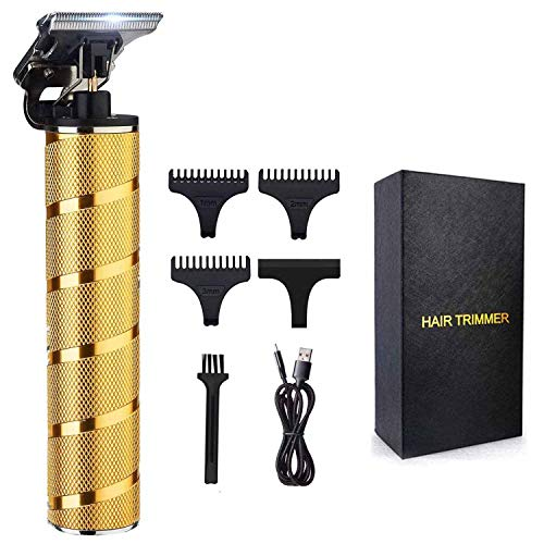 2020 New Cordless Trimmers Hair Clippers, Professional T Blade Trimmer Clippers Edgers for Men Waterproof Wireless Barber Trimmers Liners Gold
