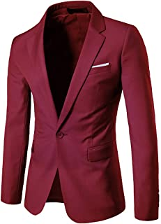Mens Suit Jacket Business Blazer Casual Single Breasted Coat Suit Jackets Dress Outwear Trenchcoat