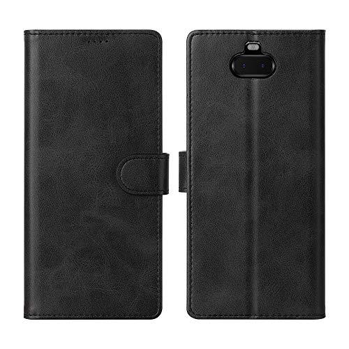 CRESEE Coque Sony Xperia 10, Étui de Protection Portefeuille Housse en Cuir Magnétique Flip Cover [Support] [Portes Carte] Antichoc Silicone Bumper Rabat Case pour Xperia 10 (6 Pouces) Noir