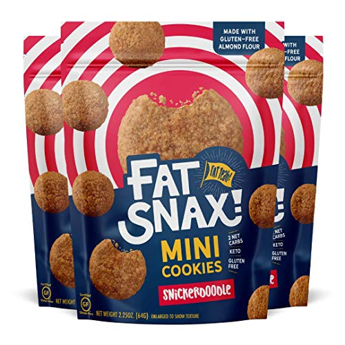 Fat Snax Mini Keto Cookies - Low-Carb Keto Snacks, Sugar-Free, and Gluten-Free Snack Foods (Snickerdoodle, 3-pack)