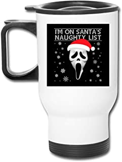 Christmas Scream Ghostface Naughty List 16 Oz Stainless Tumbler Double Wall Vacuum Coffee Mug With Splash Proof Lid For Hot & Cold Drinks