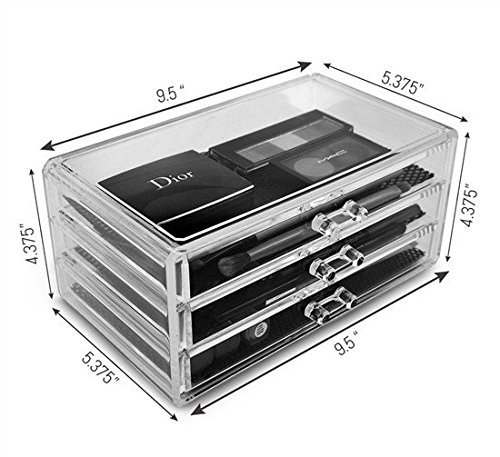 Unique Home Acrylic Jewelry & Cosmetic Storage Makeup Organizer, 3 Drawer Box