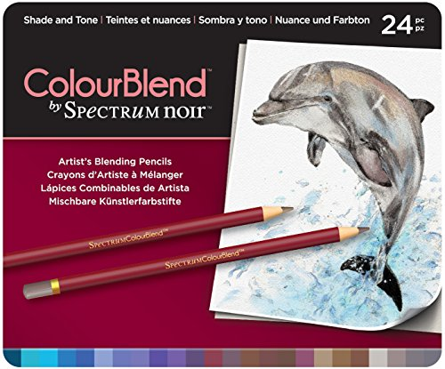 Spectrum Noir ColourBlend Premium Blendable Artists Pencils, Shade and Tone, Pack of 24