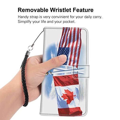 USA-Canada Flag Wallet Case Fit Motorola Moto G5 Plus (2017) with Card Holder