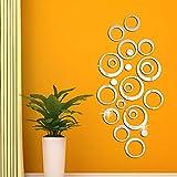 FUNCSDIK Acrylic Mirror Circle Ring Wall Sticker 3D Three-Dimensional Crystal Self-Adhesive Wall Sticker Bedroom Living Room Decoration Sticker