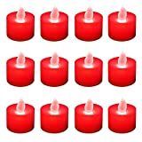 Lumabase 80312 12 Count Battery Operated Tea Lights, Red
