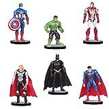 Superhero Decoración Modelo, Super Heroe Acción Juguetes Modelo Muñecas, Tarta Decoracion Vengadores, The Avengers Mini Juego de Figuras, para Torta del Fiesta Cumpleaños Suministros, 6 Piezas