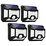 Focos LED Exterior Solares 32 LED (4 Pack), LE Lámpara Solar con Sensor de Movimiento, Blanco Frio 6500K, Impermeable IP64, 4 Ángulos de 270 °, Luz de Pared de Seguridad para Jardín, Garaje, Escaleras