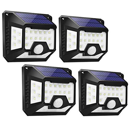 LE Solarlampen für Außen Garten mit Bewegungsmelder, Aussen Superhell Ersetzt 120 LED Solar Aussenleuchte, 270 ° Weitwinkel Solarleuchte, 1000LUX IP64 Wasserdichte Solarlicht Wandleuchte, 4 Stück