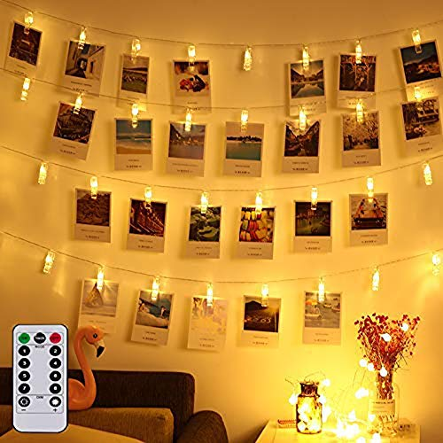LED Foto Clips Lichterkette Batterie 40 Photo Clips 5M Warmweiß Lichterketten mit Fernbedienung...