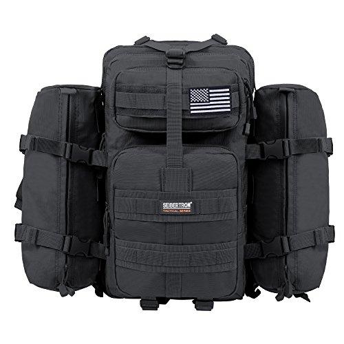 Seibertron Falcon Taktischer Militärischer Rucksack Kompakt Angriff für Wandern Reisen Trekking Tasche Tactical Bag Assault Backpack Military Camping Pack Outdoor Daypacks (Black 37L(1+ 2))