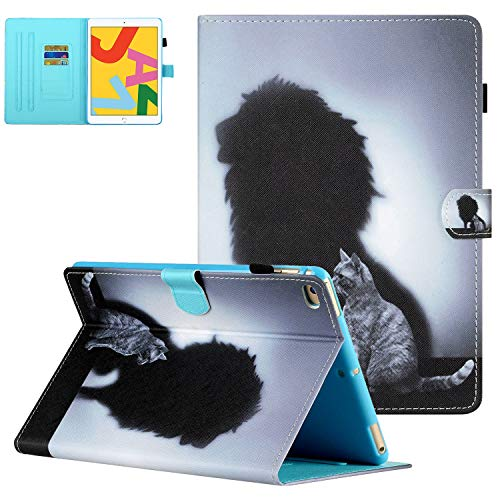 iPad Air 2/Air 1 Case, iPad 9.7 2018 2017 Case with Pencil Holder, UGOcase Folio Stand Full Protection Cover Auto Sleep Wake Wallet Case for iPad 6th/5th Gen 2018/2017, iPad Air 1 2 - Cat & Lion