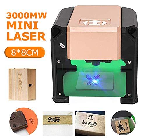 Crafts Man 3000mW Mini Laser Engraving Machine Desktop High Speed USB CNC Laser Printer Engraver for DIY Carving Handicraft Wood Engraver Working Area 8 X 8CM (3000mw)