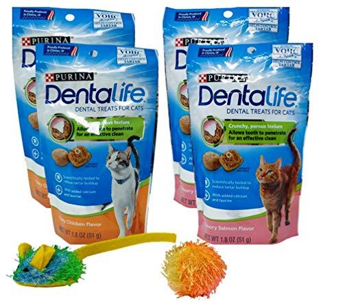 Purina Dentalife Dental Cat Treats 2 Flavor 4 Pouch Variety, 2 Each: Tasty Chicken, Savory Salmon (1.8 Ounces) | Plus 2 Catnip Toys Bundle
