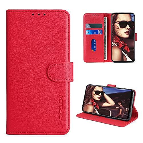 FMPCUON Handyhülle Kompatibel mit Asus ROG Phone 3 ZS661KS Hülle Leder PU Leder Tasche,Flip Hülle Lederhülle Handyhülle Etui Handytasche Schutzhülle für ROG Phone 3 ZS661KS,Rot