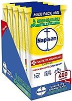 Napisan, 400 Salviette Igienizzanti, Multisuperfici e Biodegradabili, 5 Confezioni da 80 Pezzi, Limone