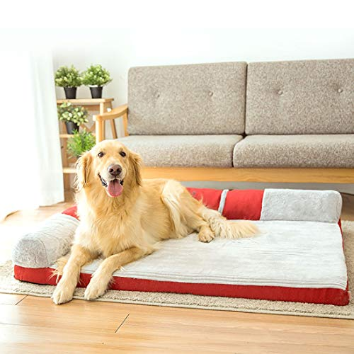 AIHU Plüsch-Quadrat Hundebett Große Hunde Traditionell Reclinersofa Sofa Im Wohnzimmer Ecksofa Haustier Sofa Abnehmbar Übergröße (Color : Red, Size : XXXL)
