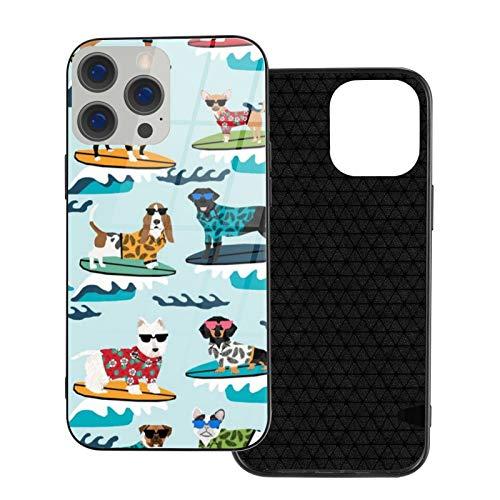 Compatible con iPhone 12 Pro Max, carcasa resistente de cuerpo completo, funda de vidrio TPU suave para iPhone 12 Pro Max 6.7 pulgadas, perros de surf lindos perros de verano