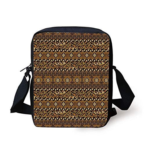 Zambia,Wild Tropical Animal Camouflage Skin Pattern Bohemian Folk Design,Light Caramel Dark Brown Print Kids Crossbody Messenger Bag Purse