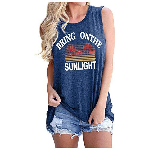 Camiseta de tirantes para mujer, camiseta de verano, con estampado de arco iris, elegante, suelta, sin mangas, cuello redondo, azul B, M