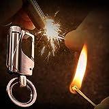 klt Encendedor de incendios para exteriores, con llavero de metal, kit de senderismo, resistente al agua, encendedores de camping y arrancadores de fuego (combustible no incluido)-4