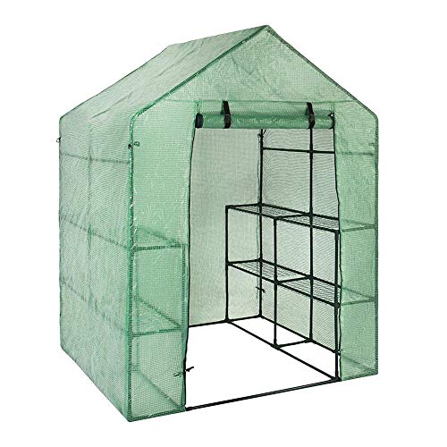DAMAI Greenhouse Grow House with 8 Shelveswalk in Plastic Tomato Greenhouse Vegetable Fruit Flower Plant Shed 143 X 73 X 195 Cm