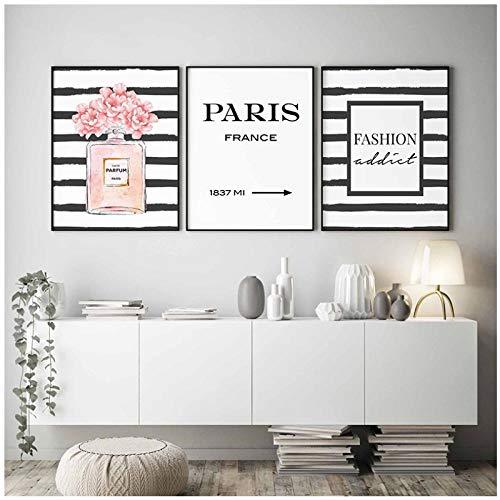Nordic Fashion Paris parfum fles muurkunst canvas schilderij wandafbeeldingen voor slaapkamer huis decoratie -50x70cmx3 st. (geen frame).